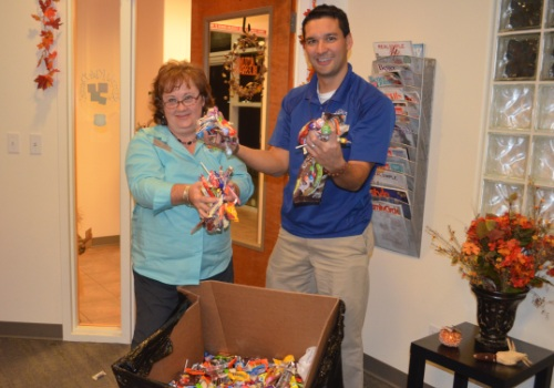 Halloween Candy Buy Back Dr. Vostatek with candy