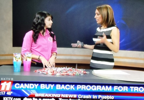 Halloween Candy Buy Back TV station interview
